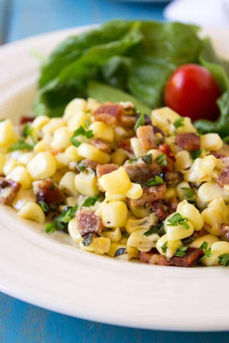Sauteed Corn with Bacon makes a perfect summer vegetable.
