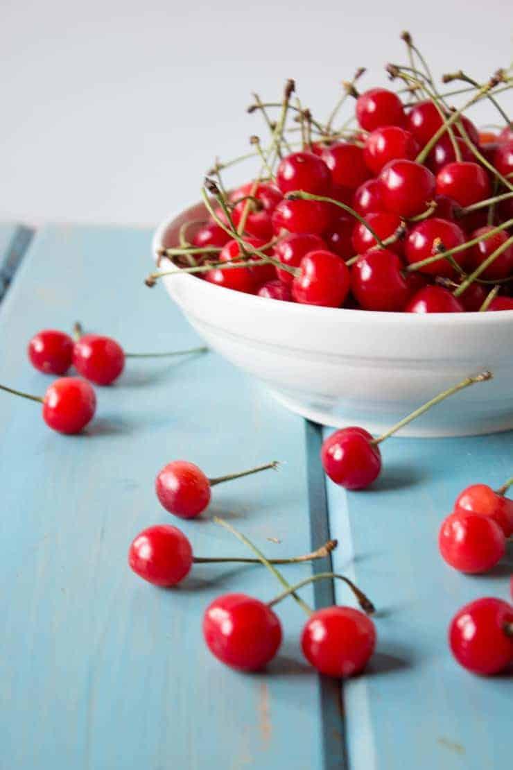 Fresh picked cherries for Cherry Cobbler