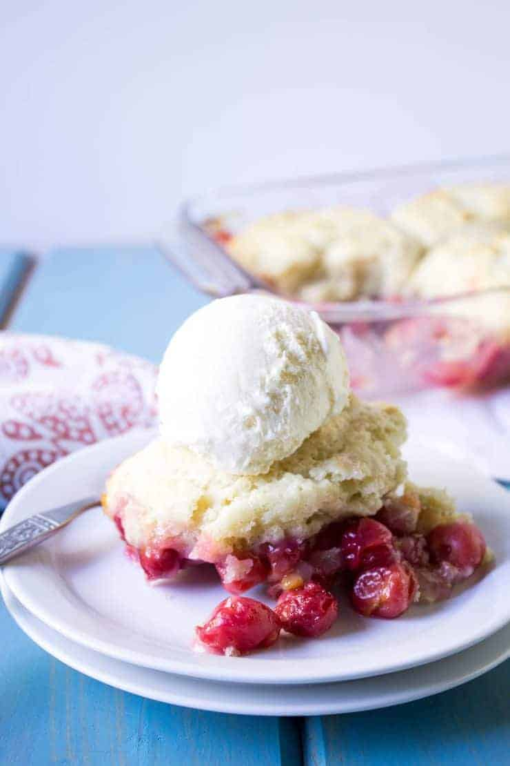 Cherry Cobbler made with fresh sour pie cherries