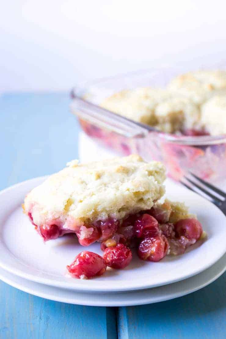 Homemade Cherry Cobbler made with fresh cherries.