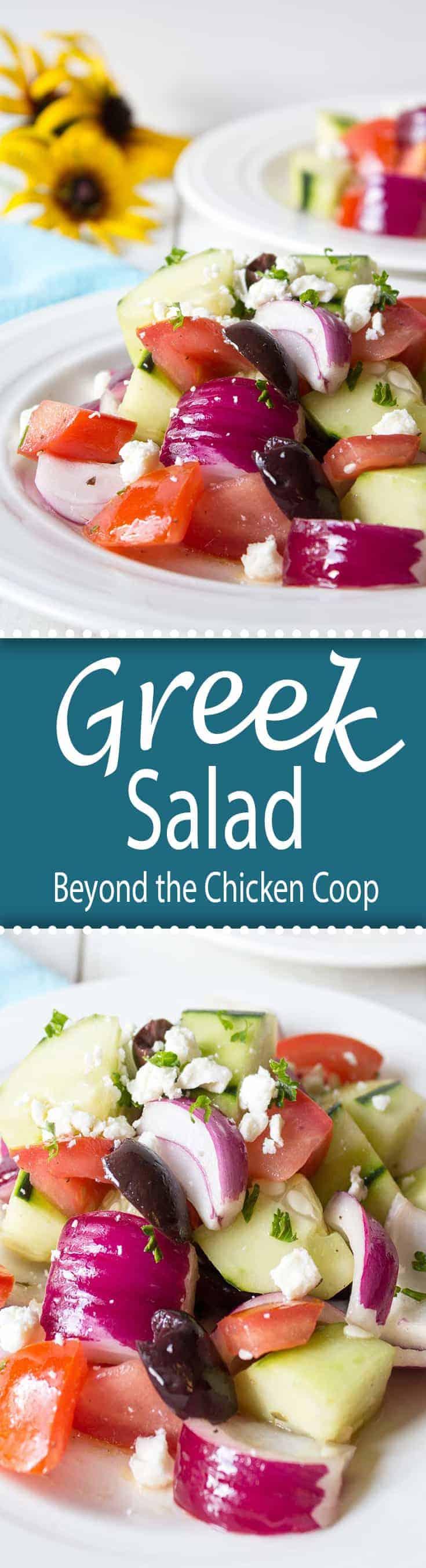 Greek Salad with fresh tomatoes, cucumbers and feta cheese.