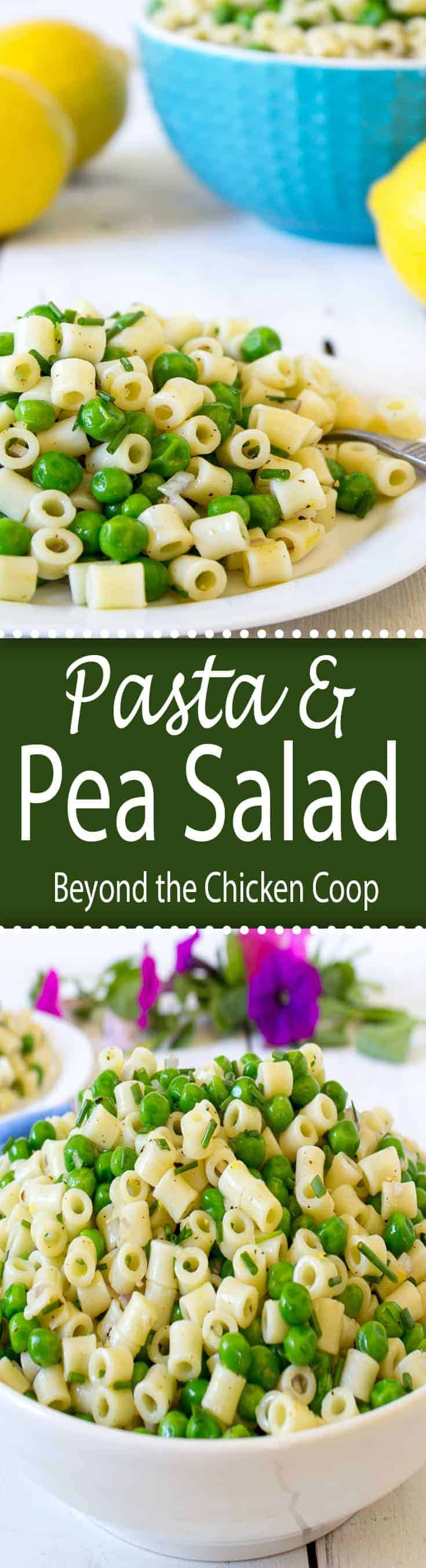 Light and delicious pasta and pea salad.