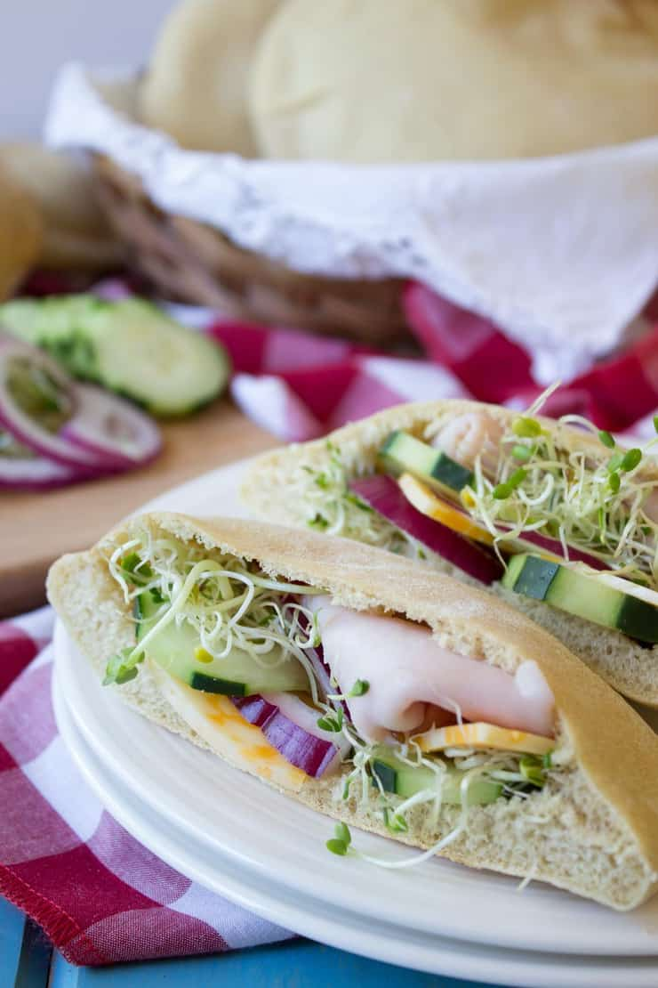 Homemade pitas with sandwich fixings.