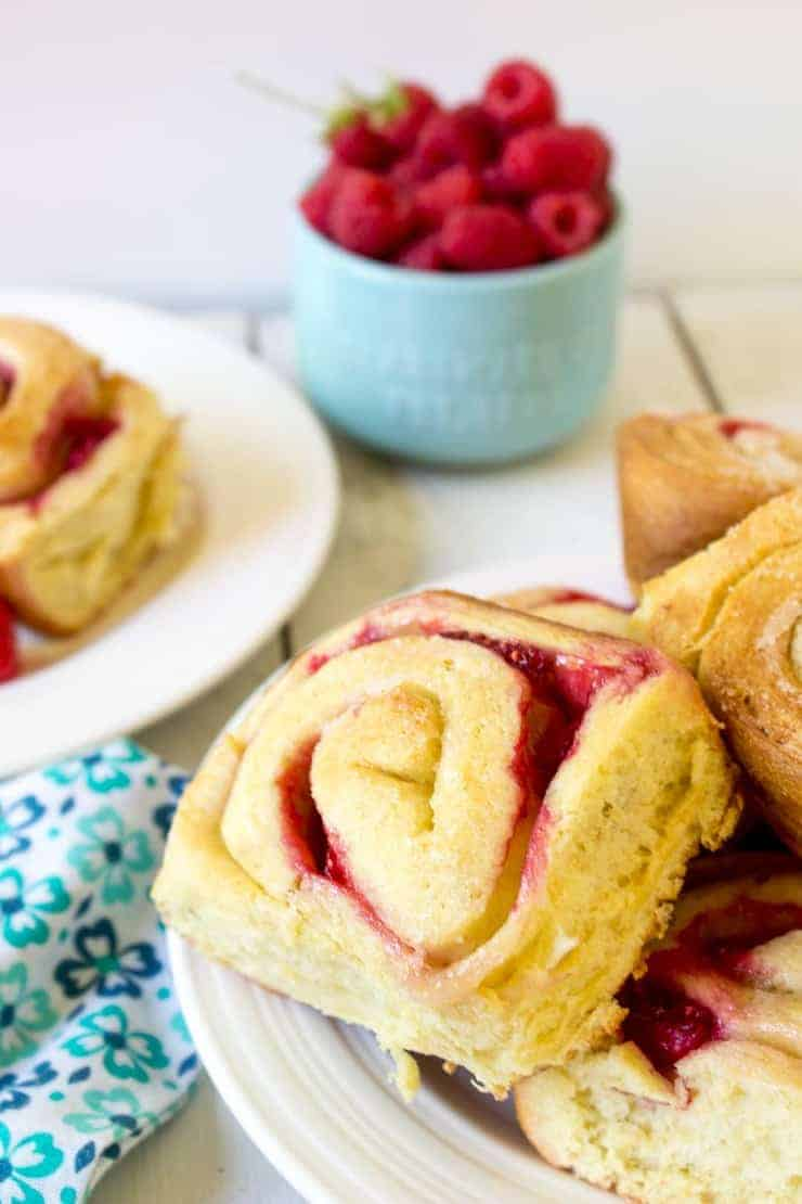 Sweet Rolls filled with fresh raspberries.