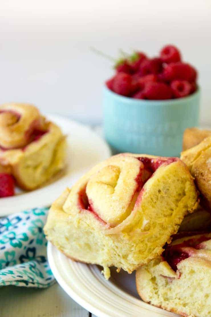 Raspberry Sweet Rolls filled with a raspberry filling.