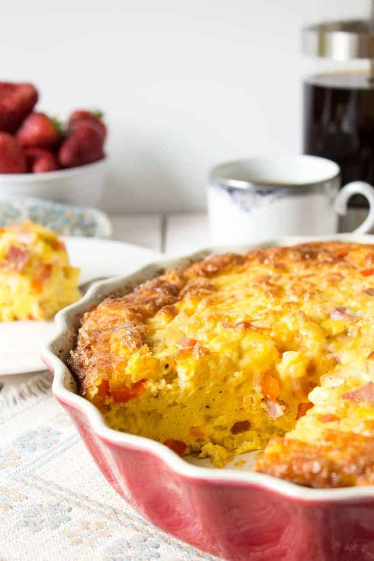 Cheesy Baked Egg Casserole is a perfect breakfast for a crowd.