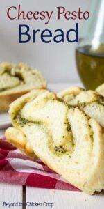 Bread with swirls of pesto.