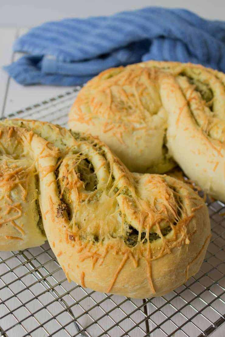 Cheesy Pesto Bread on a cooling rack