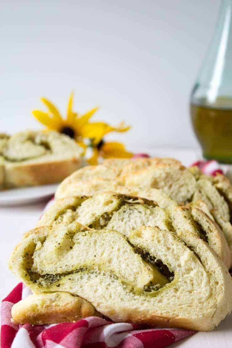 Cheesy Pesto Bread is delicious to eat and makes an impressive presentation.