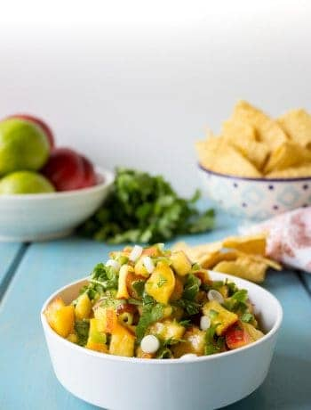 Fresh Peach Salsa made with fresh peaches, onions, and cilantro.