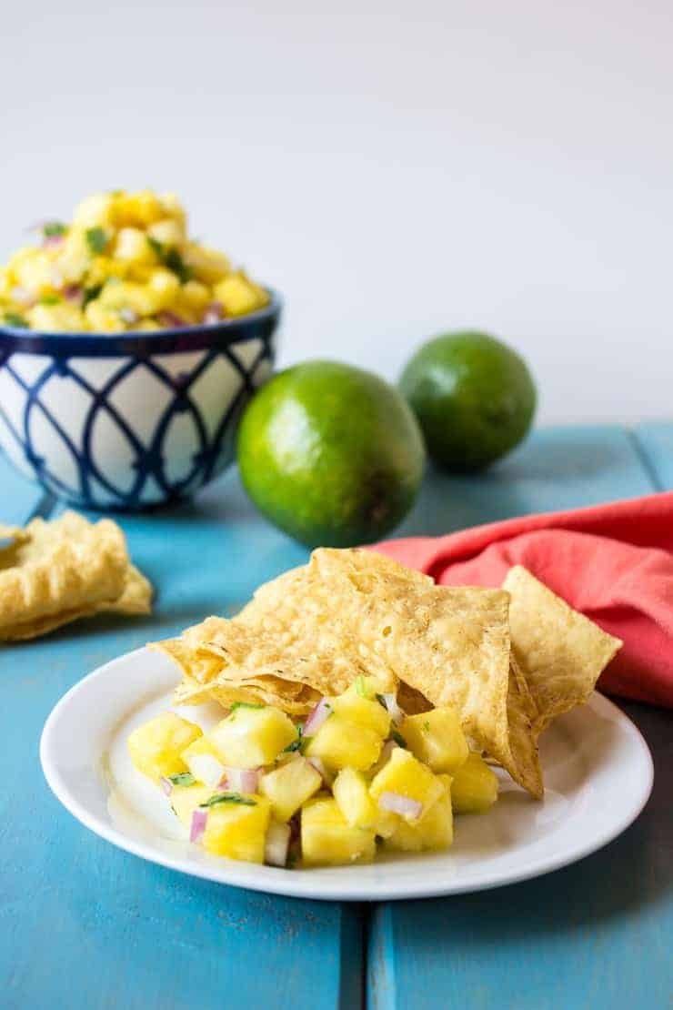 Salsa on a plate with corn chips.