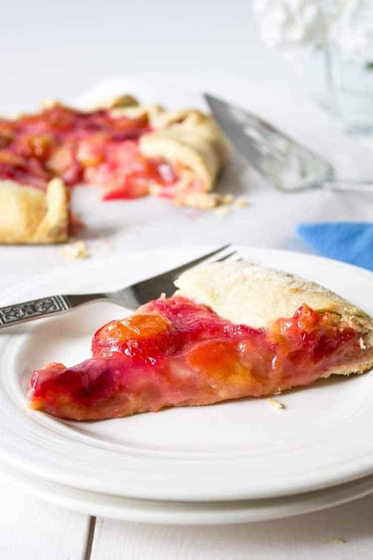 Slice of plum galette