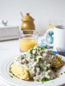 A perfect comforting breakfast; biscuits and gravy!