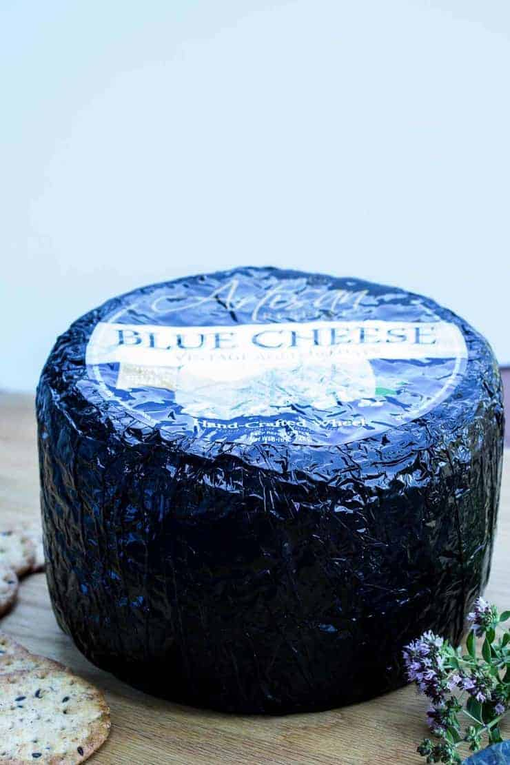 A large block of blue cheese.