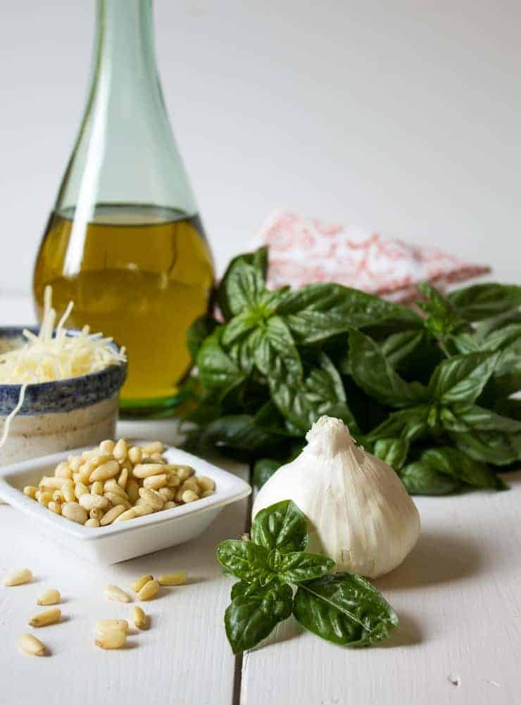 Fresh basil, pine nuts, garlic, Parmesan and olive oil.