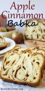 Slices of babka on a wooden board.
