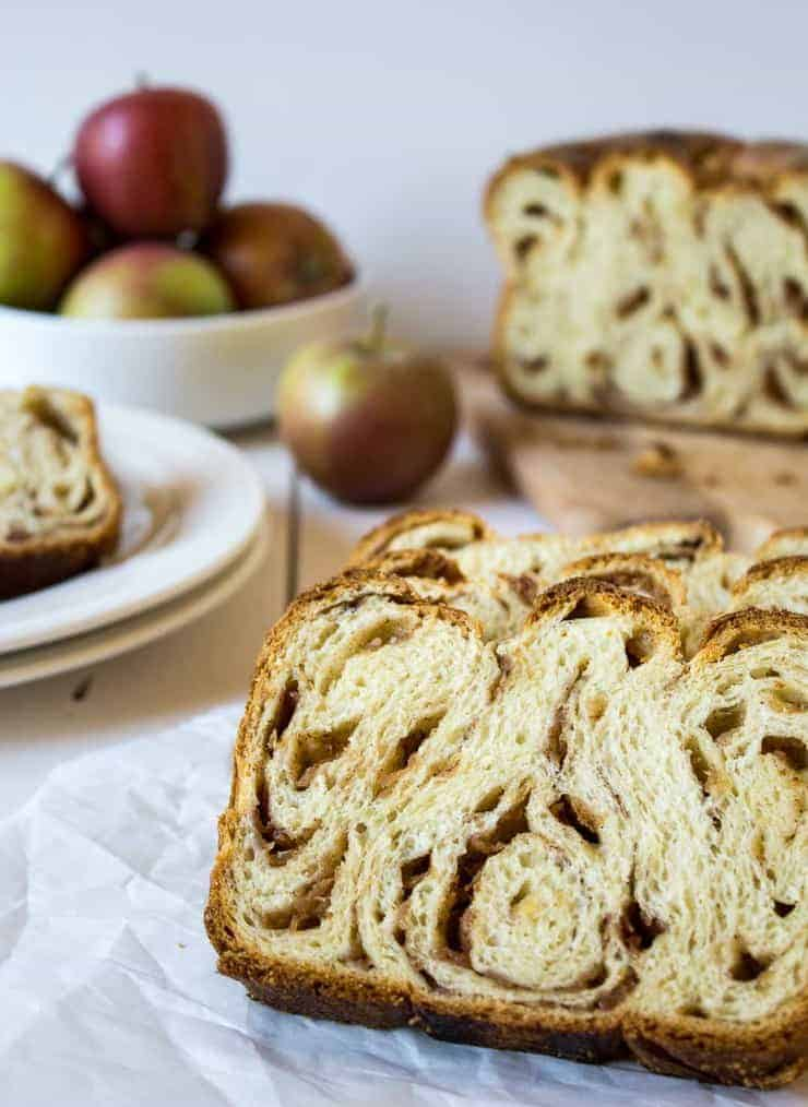 Cinnamon style loaf of bread filled with apples and cinnamon