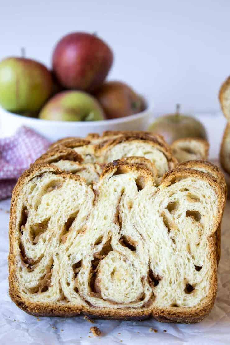 Apple Cinnamon Babka filled with bits of apples.