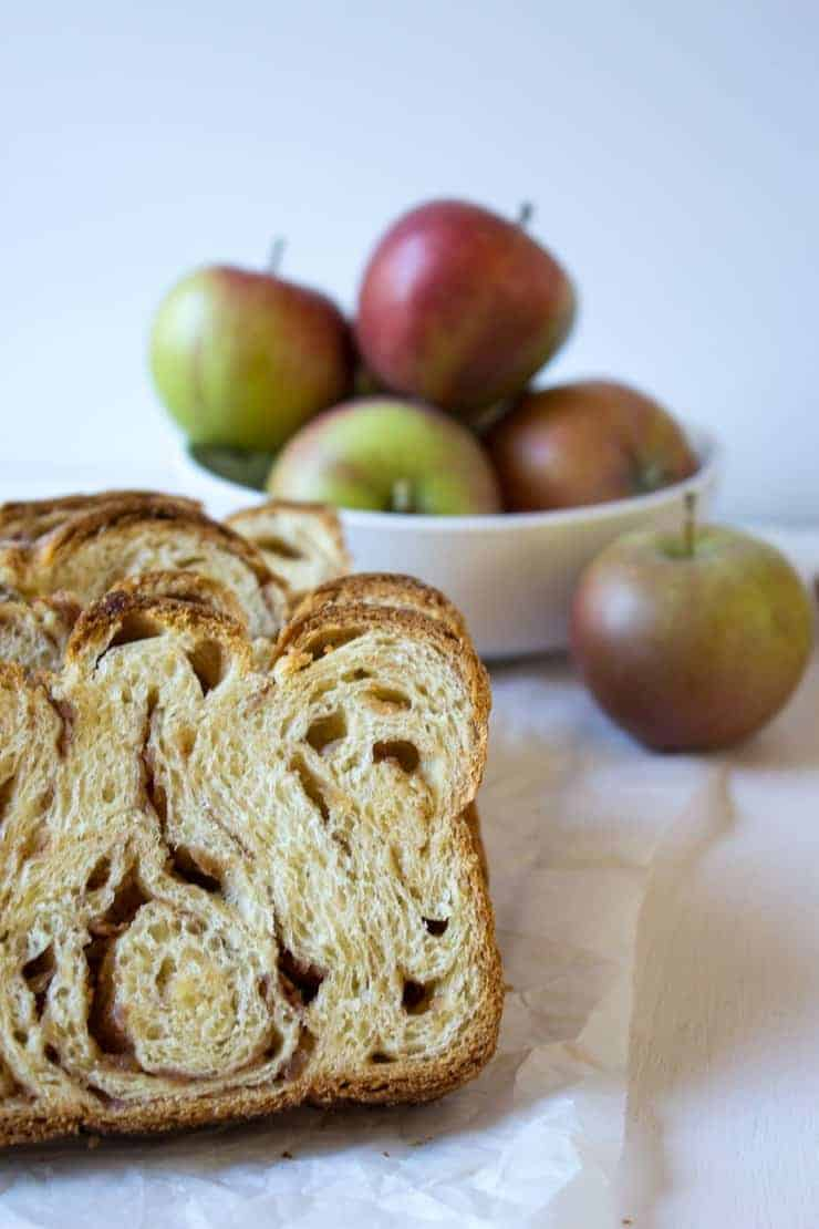 Apple Cinnamon Babka shows impressive layers made by rolling and folding the dough.