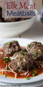 Meatballs sitting on top of tomato sauce and topped with shredded cheese.