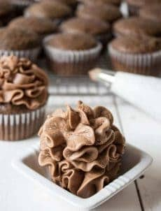 Chocolate buttercream frosting is perfect with any cake or cupcake