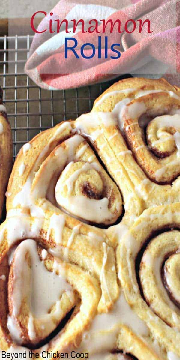 Sweet rolls filled with cinnamon and topped with a light glaze.