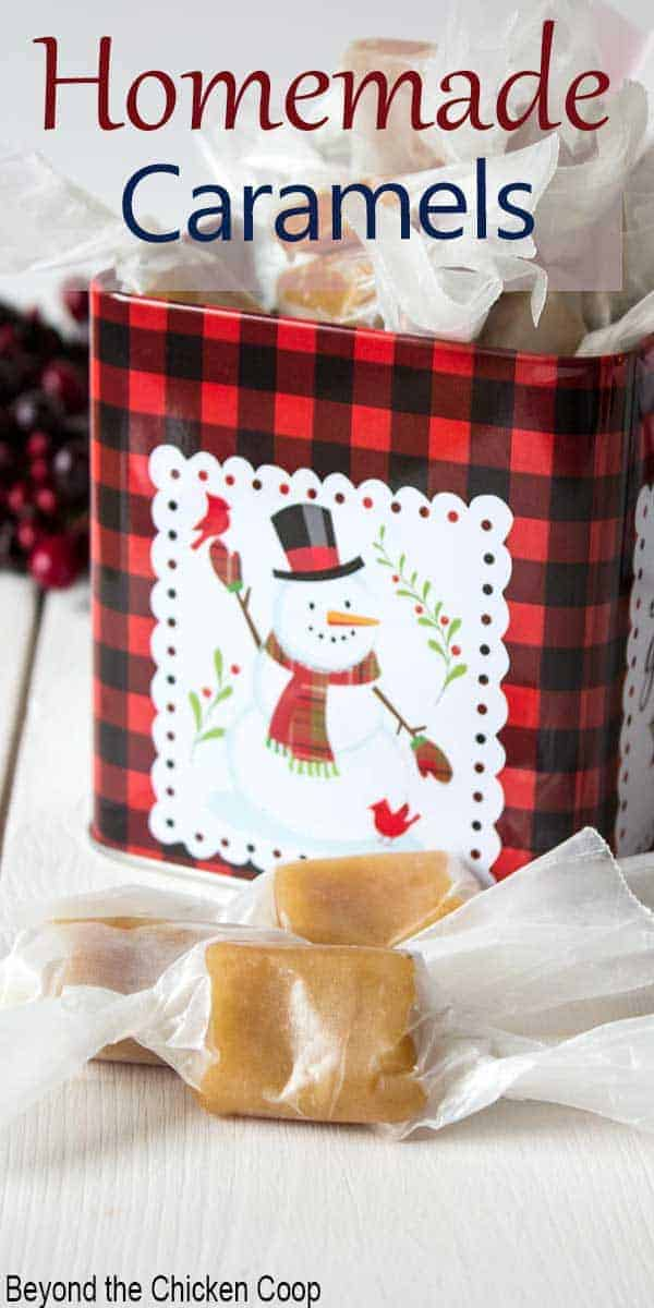 A holiday tin filled with homemade candy.