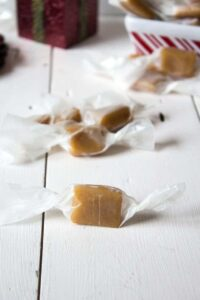 Homemade caramels wrapped and ready for sharing.