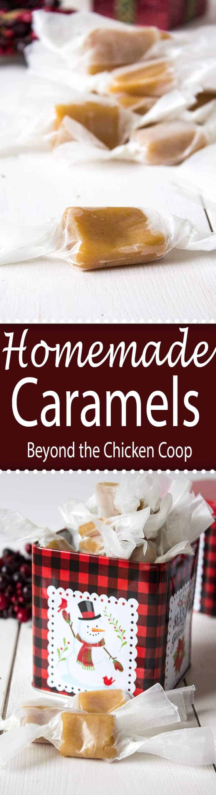 Soft and chewy homemade caramels make a perfect gift for the holidays. #caramels #holidays #candy