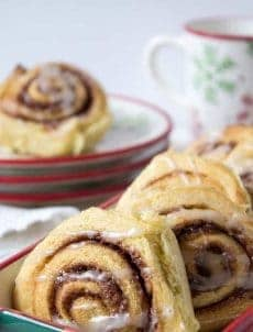 Homemade cinnamon rolls bursting with cinnamon.