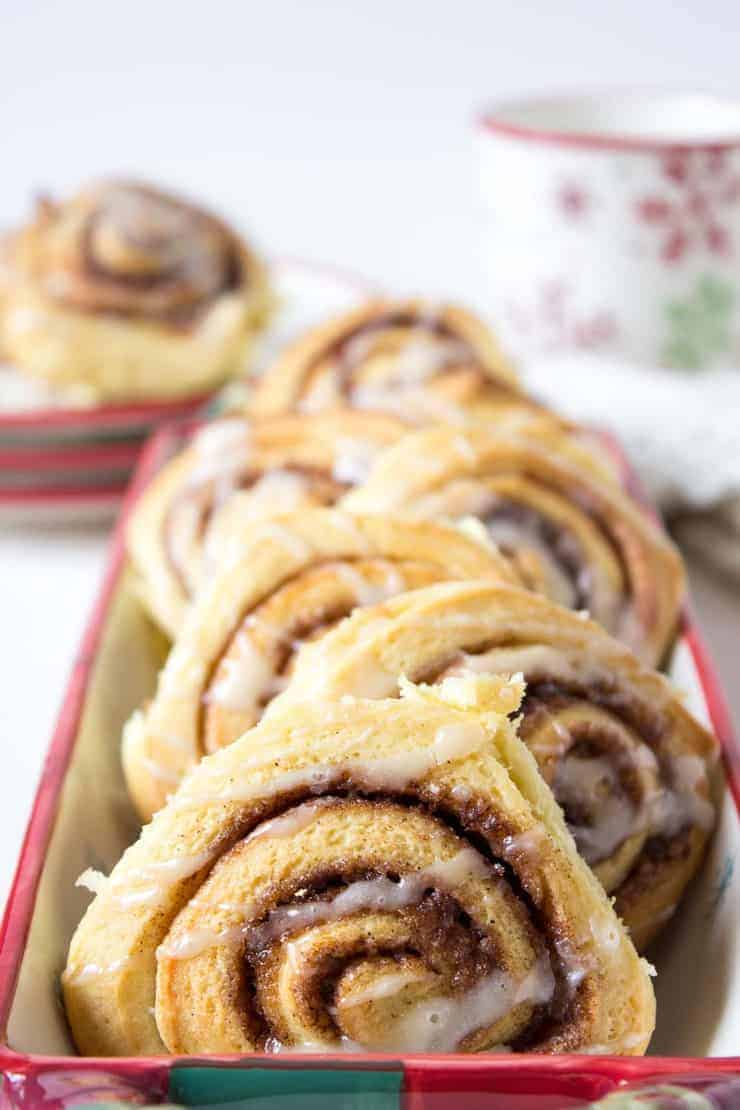 Freshly baked cinnamon rolls.