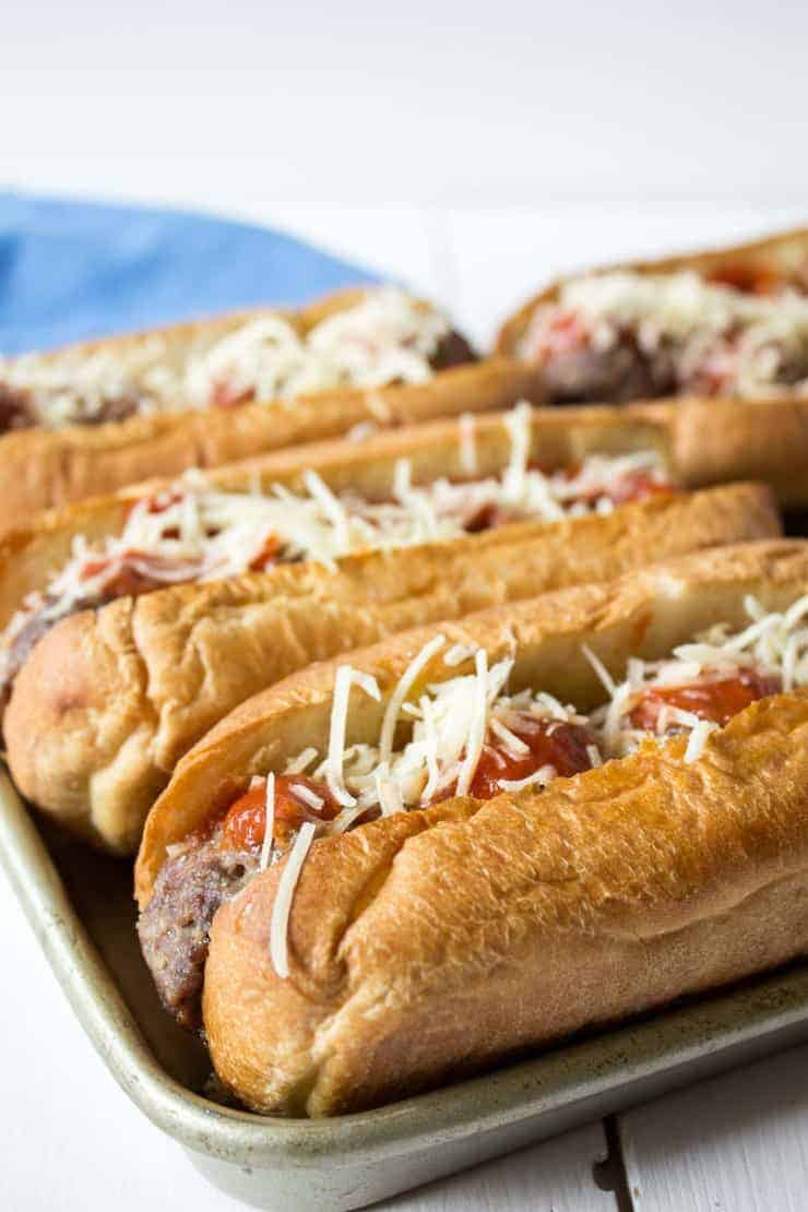Meatball sandwiches can be popped into the oven for a quick and delicious dinner.