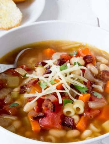 Italian pasta e fagioli - soup with pasta and beans