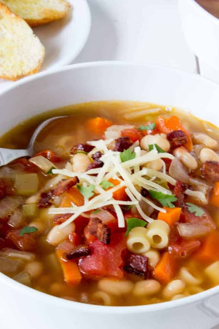 Italian pasta e fagioli - soup with pasta and beans