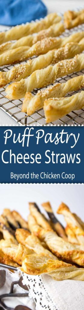 Delicate puff pastry cheese straws are perfect for an appetizer buffet table.