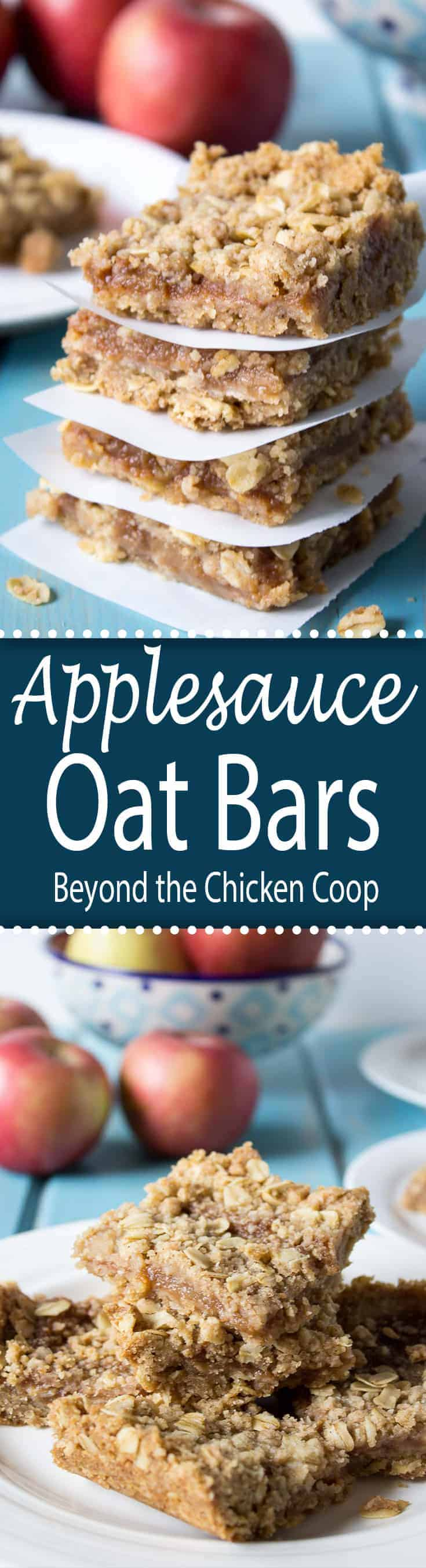 Layers of an oatmeal crumb crust with an applesauce filling make a delicious snack.