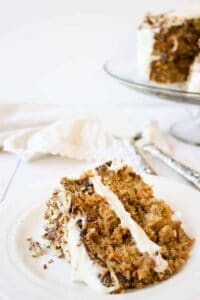 Carrot Cake made with carrots, pecans, coconut and pineapple!