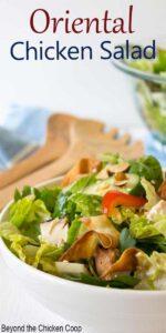 Chicken Salad in a white bowl.