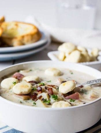 Delicious spoonful of homemade clam chowder