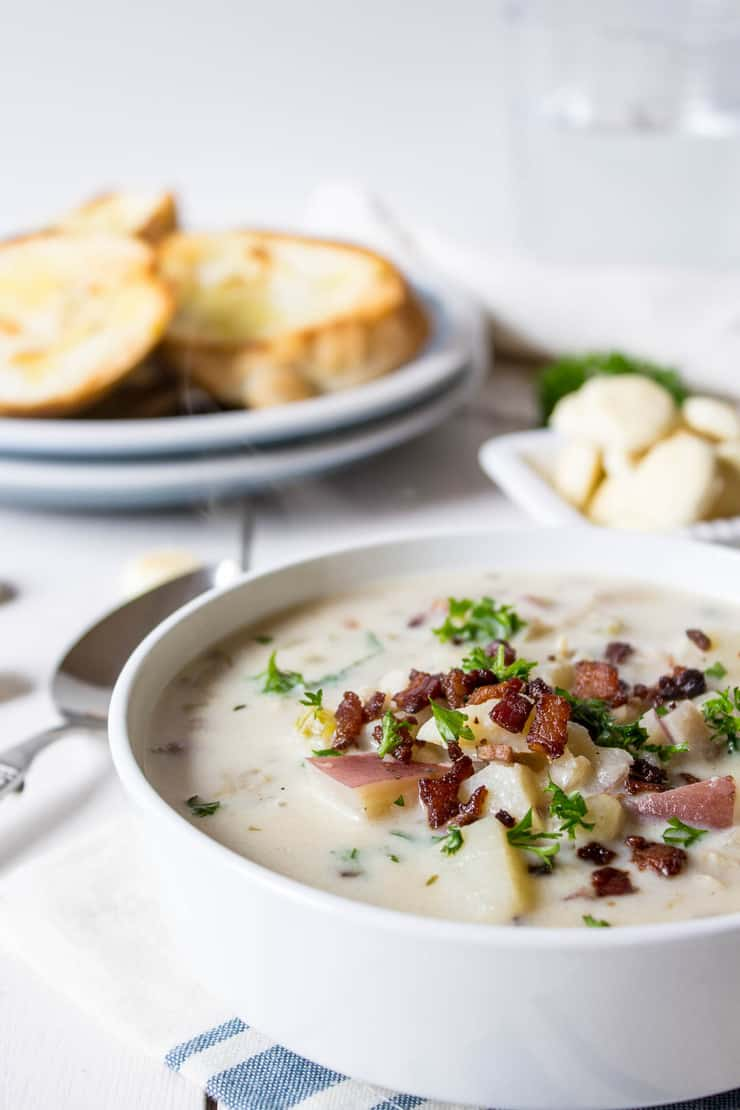 Homemade clam chowder is delicious anytime of the year.