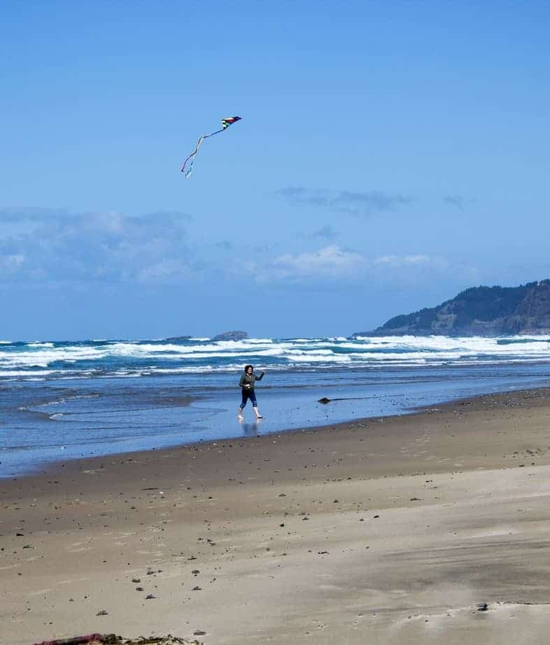 Flying a kite on the Oregon Coast