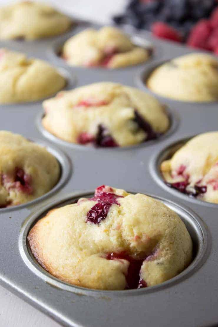 Fresh out of the oven, triple berry muffins. Perfect for breakfast, brunch or a mid morning snack