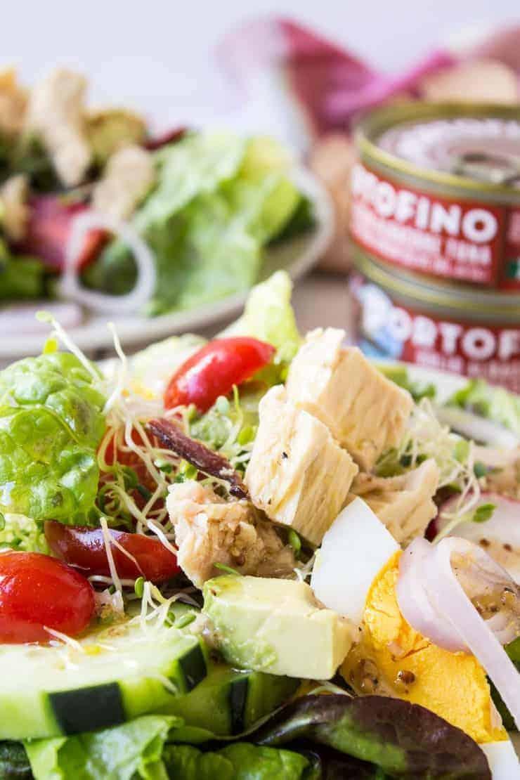 Tuna Cobb salad made with EVOO tuna.