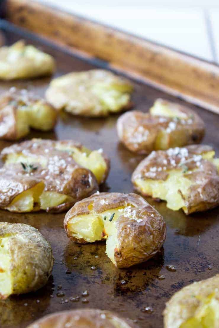 Crispy smashed potatoes are quick and easy to make and so addicting to eat!