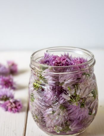 Chive blossoms in a small glass jar.