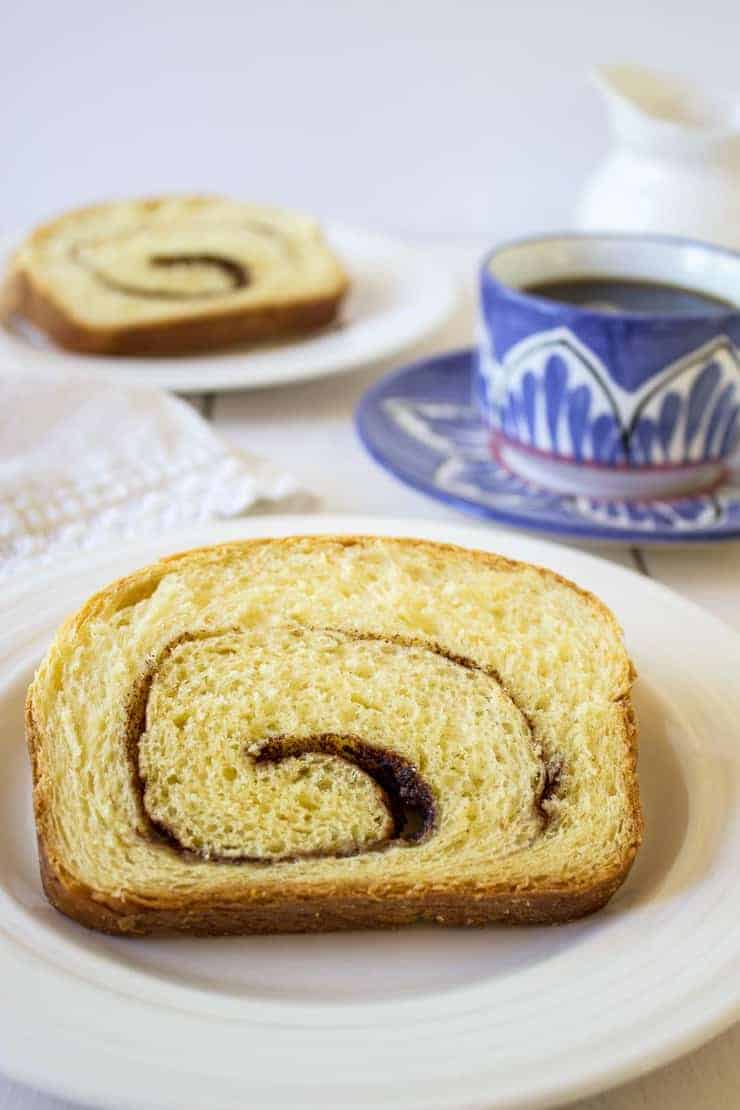 Slices of cinnamon swirl bread are perfect for breakfast. Eat it toasted with butter or just plain. Either way is delicious!