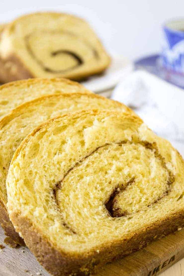Cinnamon Swirl Bread is perfect toasted with butter or eaten plain.