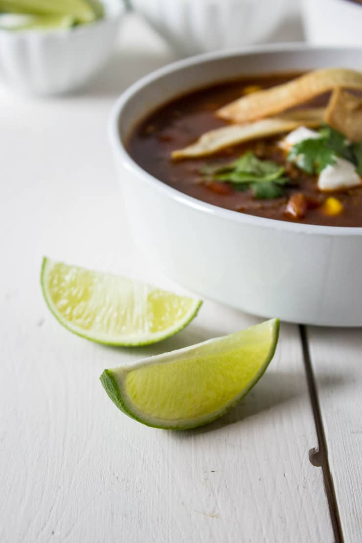 Limes are a perfect condiment to add to Enchilada Soup.