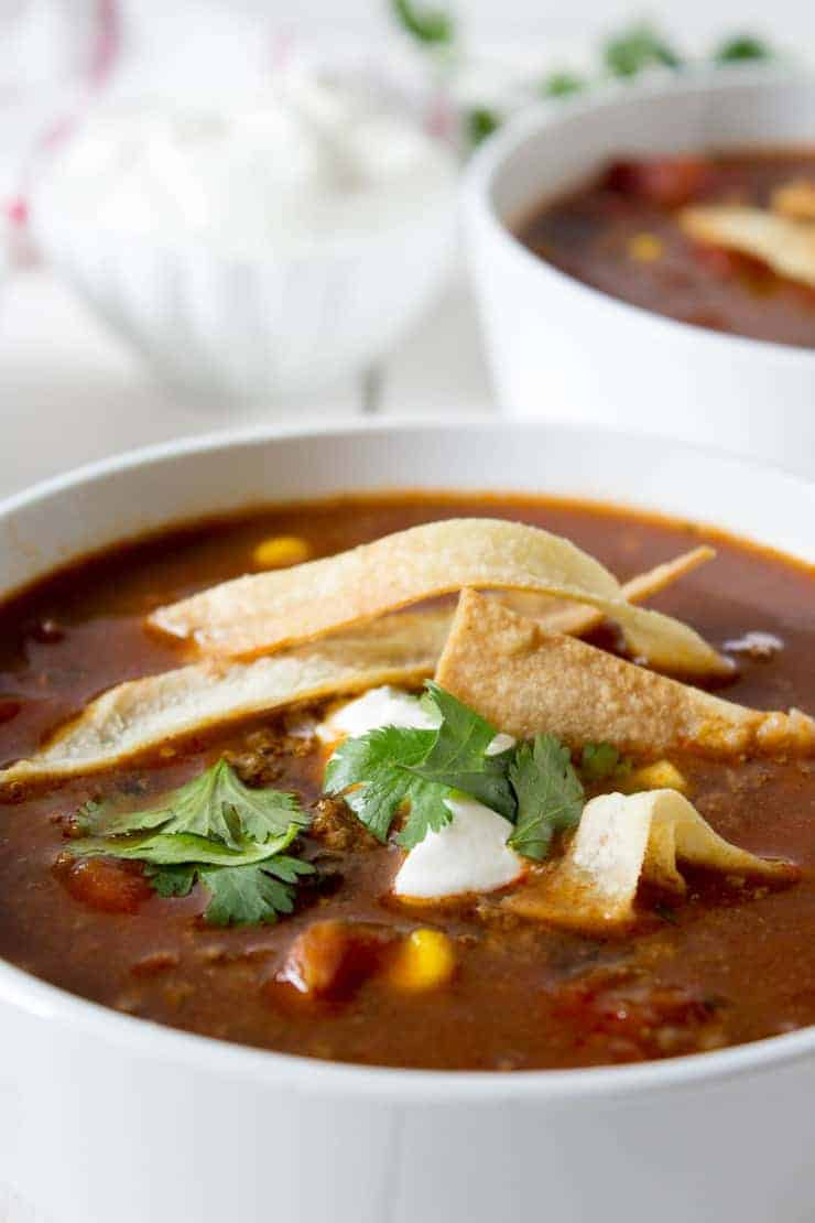 Enchilada soup is so comforting and nourishing. This soup is perfect for lunch or a light dinner.