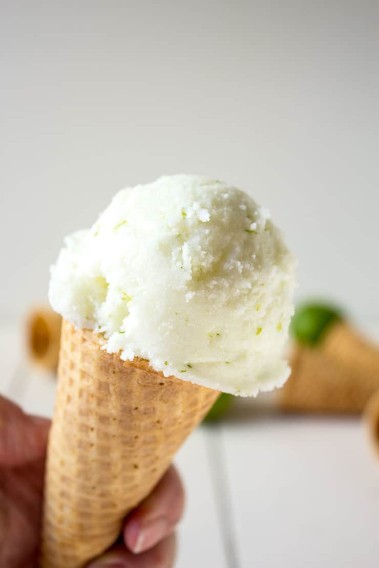 A scoop of lime sherbet. This recipe just uses a few simple ingredients and makes a delicious tart sherbet.